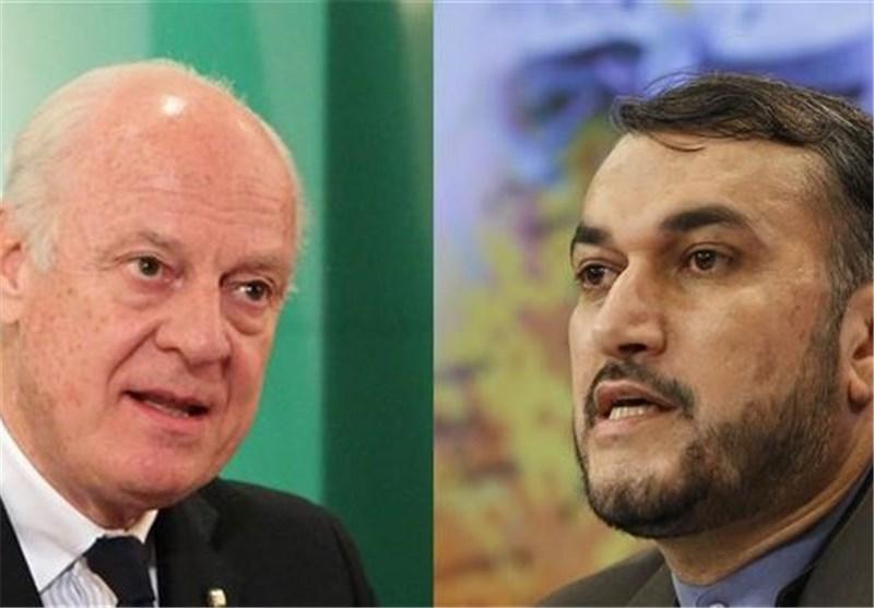 Iranian Diplomat, UN Envoy Discuss Syria Peace Efforts