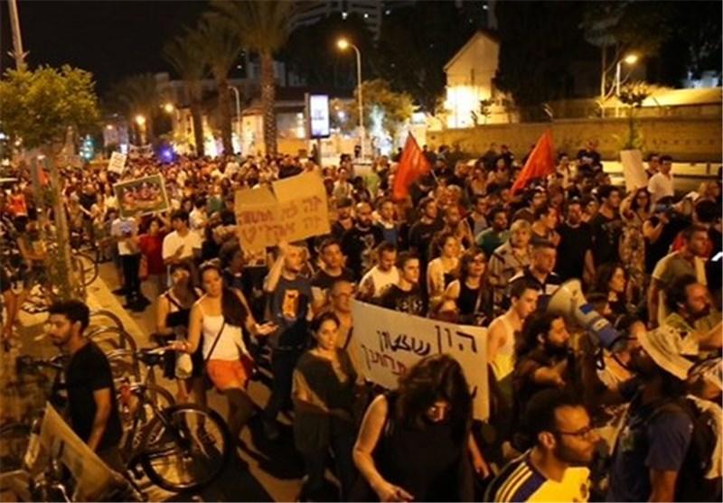 آلاف المستوطنین الصهاینة یتظاهرون ضد نتنیاهو