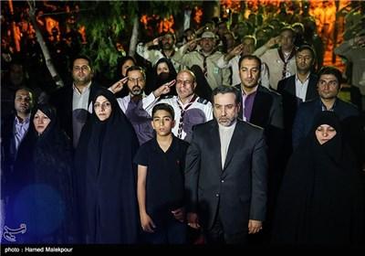 عزف النشید الوطنی خلال مراسم تکریم عوائل شهداء الطاقة النوویة