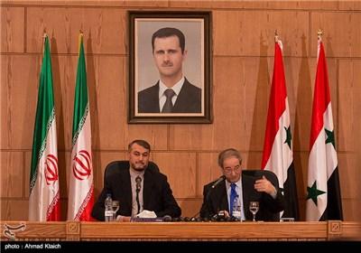 مؤتمر صحفی یجمع نائب وزیر الخارجیة الإیرانی ونظیره السوری فی العاصمة دمشق