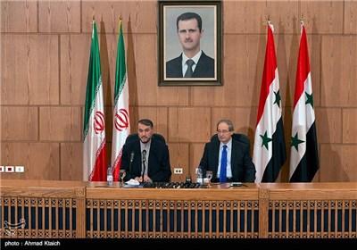 مؤتمر صحفی مشترک یجمع عبداللهیان و فیصل المقداد فی العاصمة دمشق
