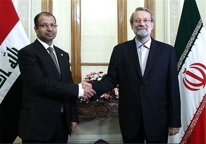 رئیس مجلس الشوری الاسلامی یستقبل رئیس المجلس الوطنی العراقی