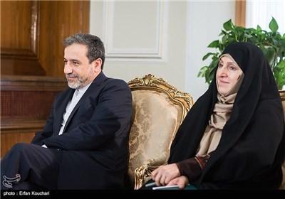 مرضیة افخم المتحدثة باسم وزارة الخارجیة الإیرانیة و الدکتور ظریف یلتفی یوکیا أمانو فی طهران