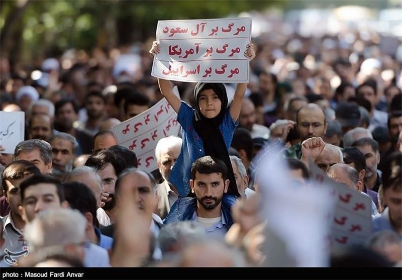 مسیرات جماهیریة فی طهران ومحافظات البلاد احتجاجا علی نظام آل سعود وفشل ادارته لشؤون الحج