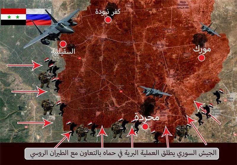 الجیش السوری یستعید 9 قرى وعدة تلال بریف حماه فی المرحلة الأولى من المعرکة