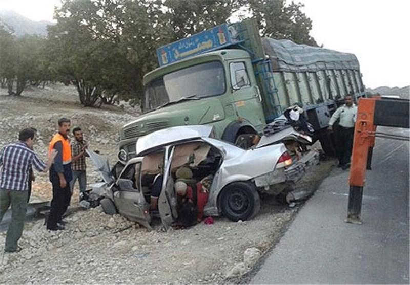 تصادف سمند کامیون مراغه