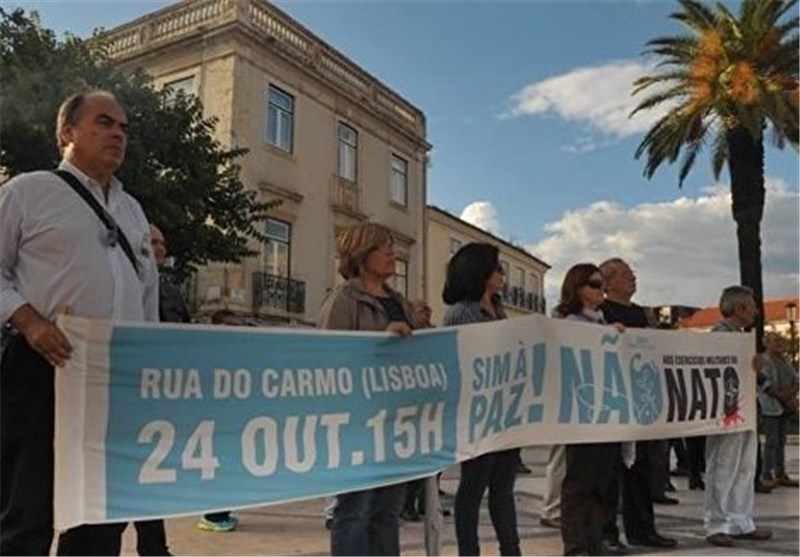 People Rally in Lisbon Protesting against NATO Exercises
