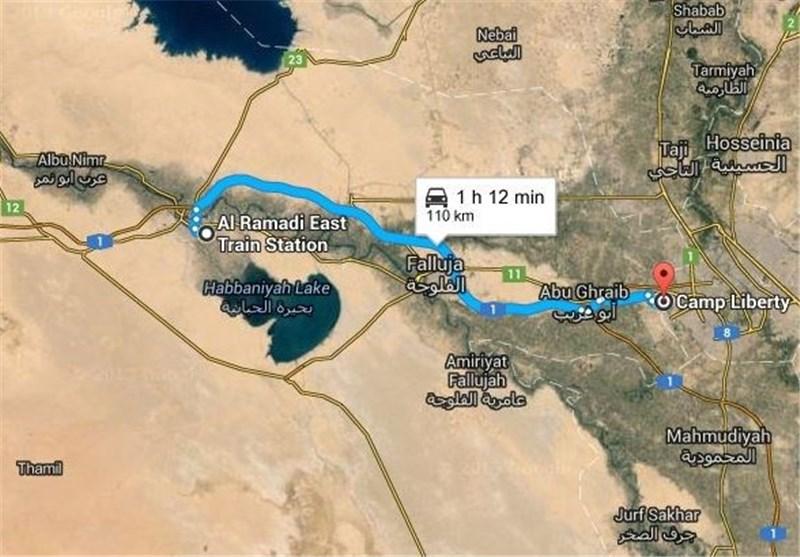 فاصله کمپ لیبرتی تا پایگاه آموزشی داعش
