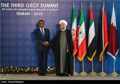 استقبال حجتالاسلام حسن روحانی رئیس جمهور از تئودور اوبیانگ رئیس جمهور گینه استوایی - سومین اجلاس سران مجمع کشورهای صادرکننده گاز (GECF)