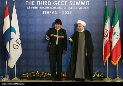 استقبال حجتالاسلام حسن روحانی رئیس جمهور از اوو مورالس رئیس جمهور بولیوی - سومین اجلاس سران مجمع کشورهای صادرکننده گاز (GECF)