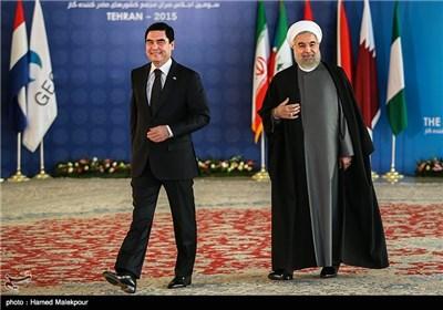 استقبال حجتالاسلام حسن روحانی رئیس جمهور از قربانقلی بردی محمداف رئیس جمهور ترکمنستان - سومین اجلاس سران مجمع کشورهای صادرکننده گاز (GECF)