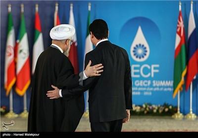 استقبال حجتالاسلام حسن روحانی رئیس جمهور از قربانقلی بردی محمداف - سومین اجلاس سران مجمع کشورهای صادرکننده گاز (GECF)
