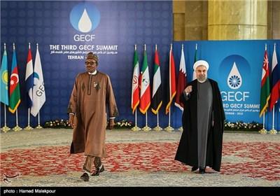 استقبال حجتالاسلام حسن روحانی رئیس جمهور از محمدو بوهاری رئیس جمهور نیجریه - سومین اجلاس سران مجمع کشورهای صادرکننده گاز (GECF)