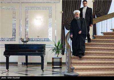 ورود حجتالاسلام حسن روحانی رئیس جمهور به محل دیدار