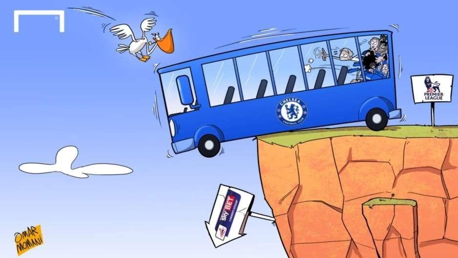 کاریکاتور/ اتوبوس چلسی در خطر سقوط به دسته پایینتر