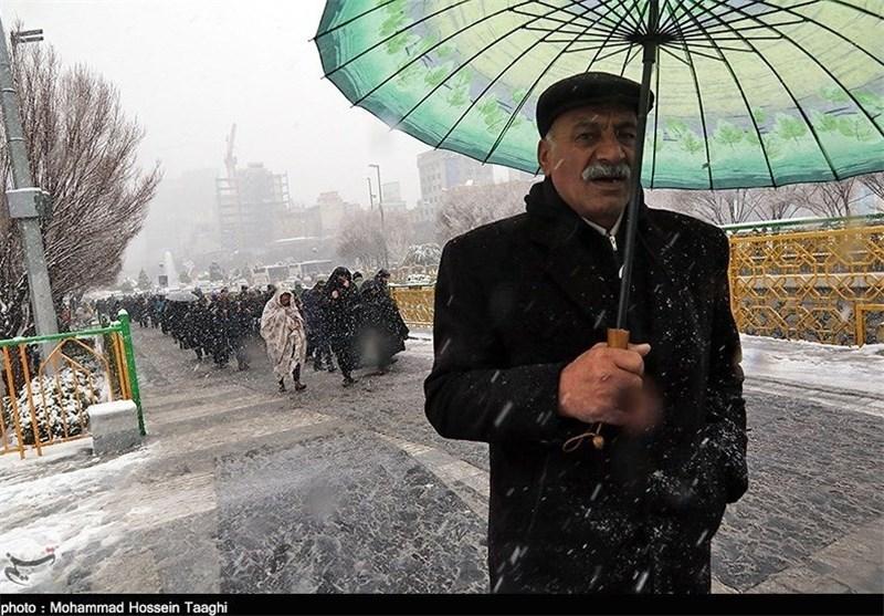 بارش برف فروردینی در مشهدمقدس+ فیلم