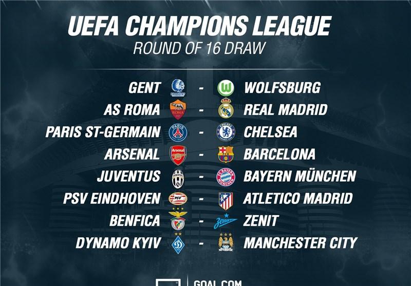 Champions League Round Of 16 Draw List Sports News Tasnim News Agency