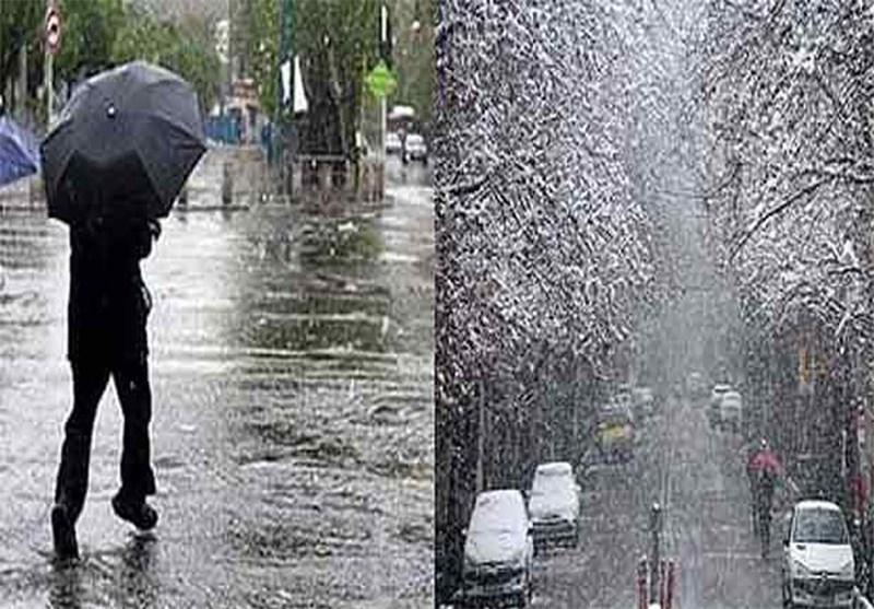 نزول الثلج وهطول المطر فی أغلب انحاء البلاد