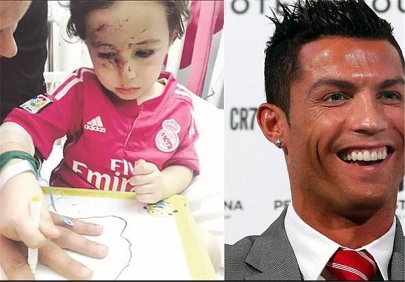 النجم البرتغالی رونالدو یلتقی الطفل اللبنانی حیدر + صور