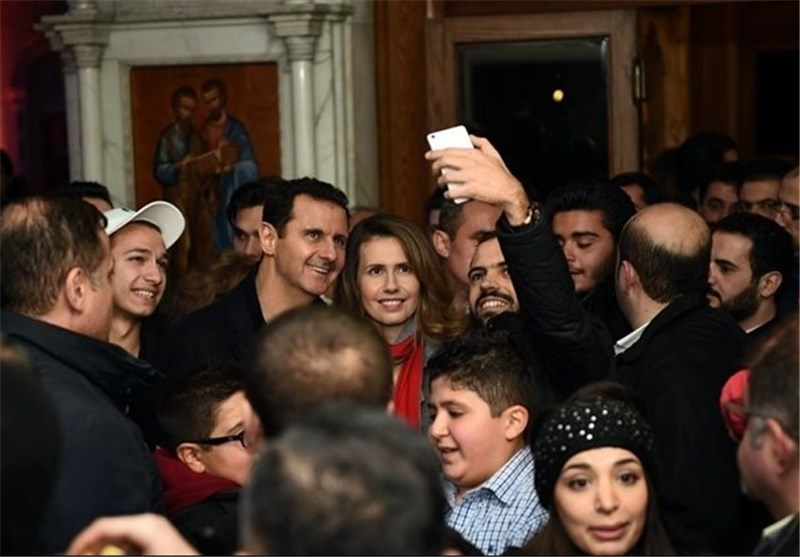 Assad Makes Visit to Church in Damascus Frontline