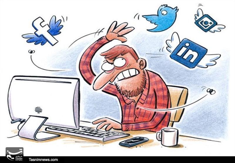 کاریکاتور/ اتلاف وقت در شبکه های اجتماعی