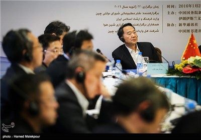 جیانگ جیان گوئو رئیس دفتر مطبوعاتی شورای دولتی چین در گردهمایی رسانههای ایران و چین