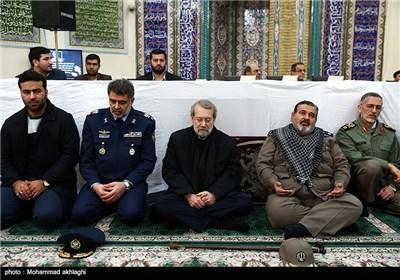 حضور سرلشکر فیروزآبادی و علی لاریجانی رییس مجلس شورای اسلامی در مراسم تشییع پیکر امیر سرلشکر محمد سلیمی