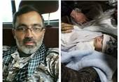 وداع فرزند 40 روزه شهید مدافع حرم با پیکر پدر +عکس