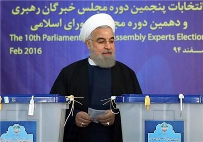 سخنان رئیس جمهور پس از انداختن رای در صندوق در وزارت کشور