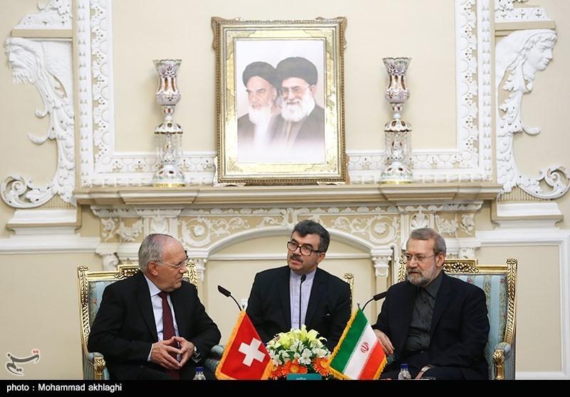 دیدار رئیس جمهور سوئیس با علی لاریجانی
