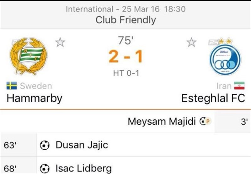 Iran's Esteghlal Loses to Sweden's Hammarby in Friendly