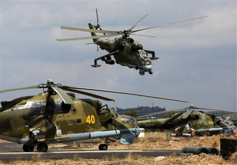 Russia's Mil Mi-24 helicopters at the Hmeimim base in Syria