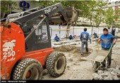 عملیات عمرانی سنگفرش خیابان سی تیر