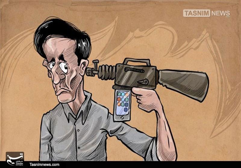 کاریکاتور/ خودکشی با موبایل