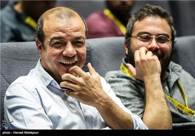 پوریا آذربایجانی کارگردان و سعید آقاخانی بازیگر فیلم اروند در سالن نمایش فیلم