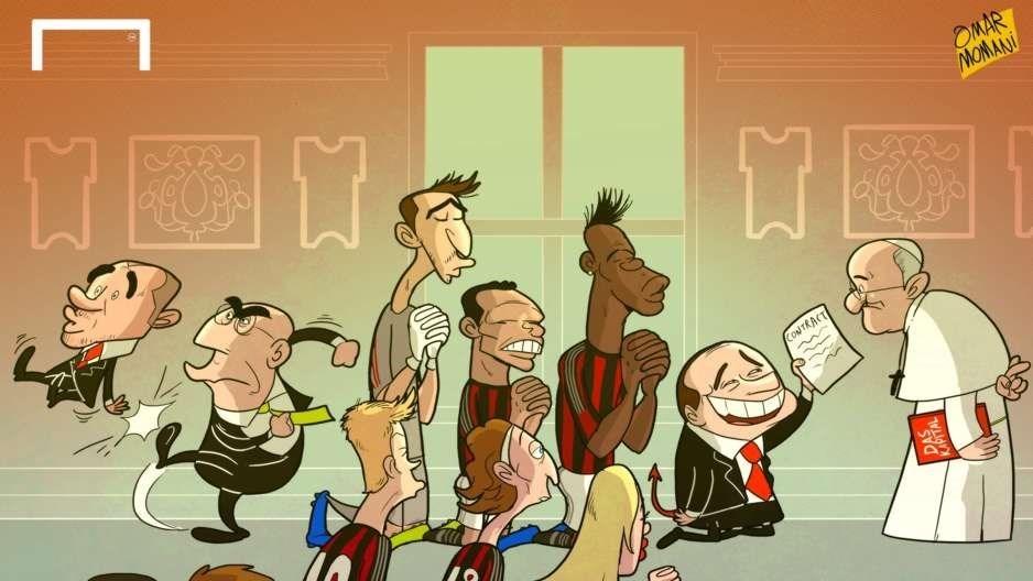 کاریکاتور/ میلانیها برای شکست یووه، دست به دامن پاپ شدند