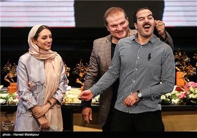 پاشا جمالی، مهدی سلطانی و نهال دشتی در جشن پایان سریال شهرزاد