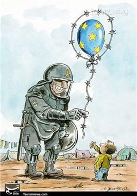 کاریکاتور/هدیه خوش آمدگویی اروپاییها به مهاجران