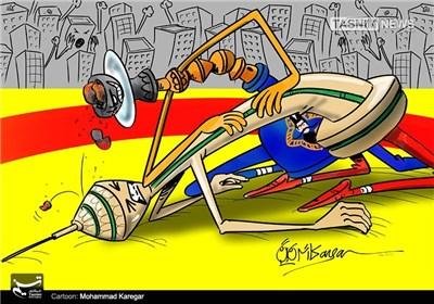 کاریکاتور/ تهرون زیر فشار قلیون!!!