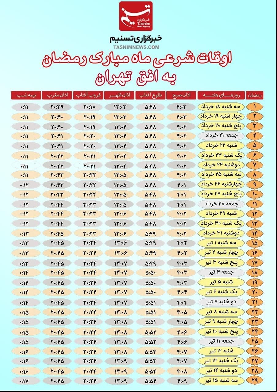 اوقات شرعی ماه رمضان 1395 به افق تهران