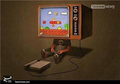 کاریکاتور/ کودکان غرق در بازی!