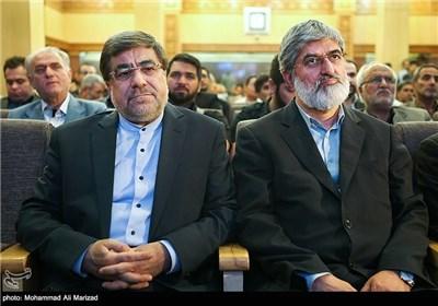 حضور علی مطهری نائب رئیس مجلس شورای اسلامی و علی جنتی وزیر ارشاد در مراسم بزرگداشت حمید سبزواری