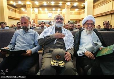 حضور سردار نقدی رئیس سازمان بسیج در مراسم بزرگداشت حمید سبزواری