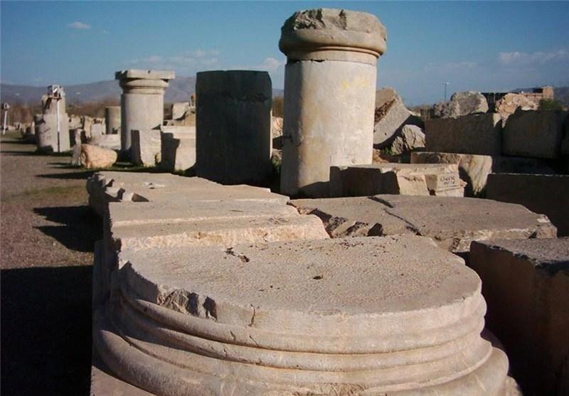 کرمانشاه| روند مرمت اضطراری اثر تاریخی معبد آناهیتا ادامه دارد
