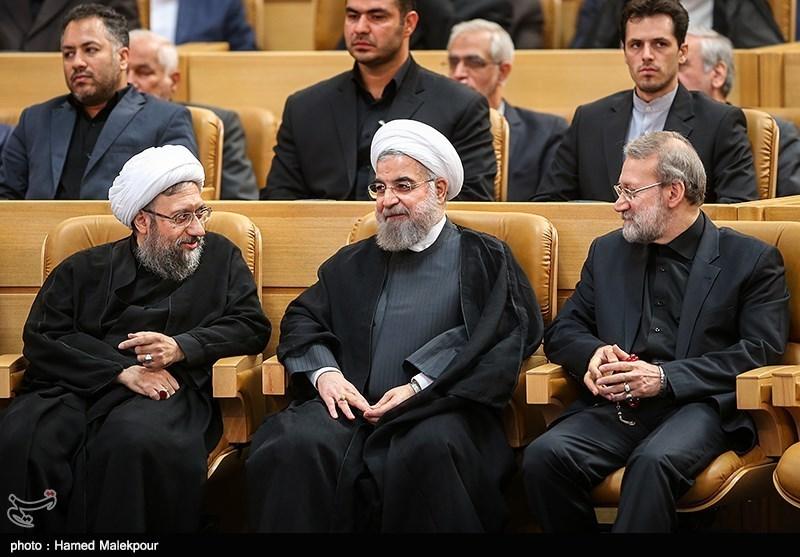 Image result for صادق لاریجانی از روحانی و علی لاریجانی
