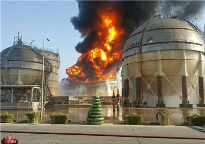حریق مجمع الصناعات البتروکیمیاویة فی ماهشهر