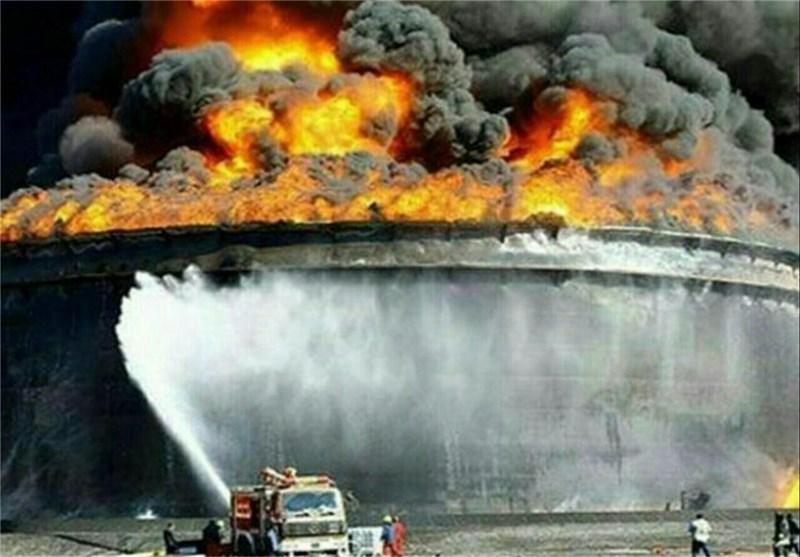 الحرائق ما زالت مشتعلة فی معمل البتروکیمیاویات بمدینة ماهشهر