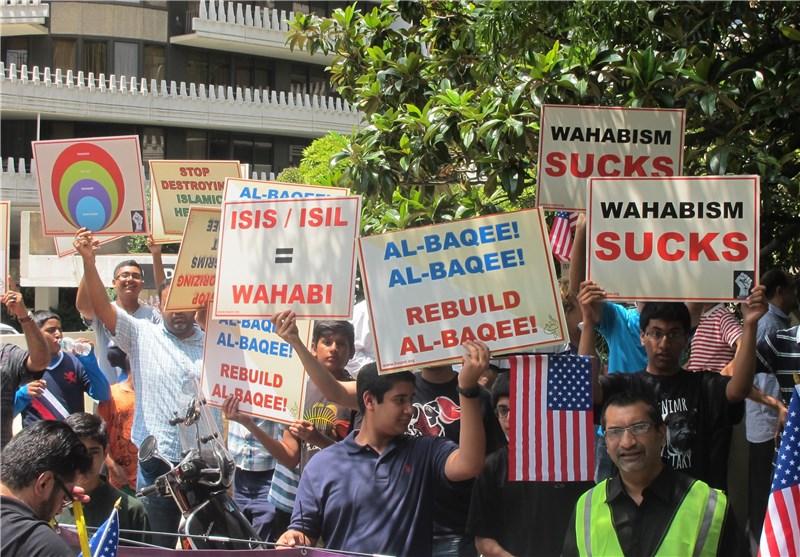 بالصور.. اعتصام مقابل السفارة السعودیة فی أمریکا