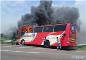 آتش گرفتن اتوبوس توریستها