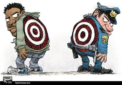 کاریکاتور/ دوئل پلیس آمریکا و سیاهپوستان